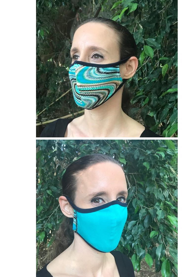 Fabric Face Mask Double Sided TURQUOISE PRINT/TURQUOISE